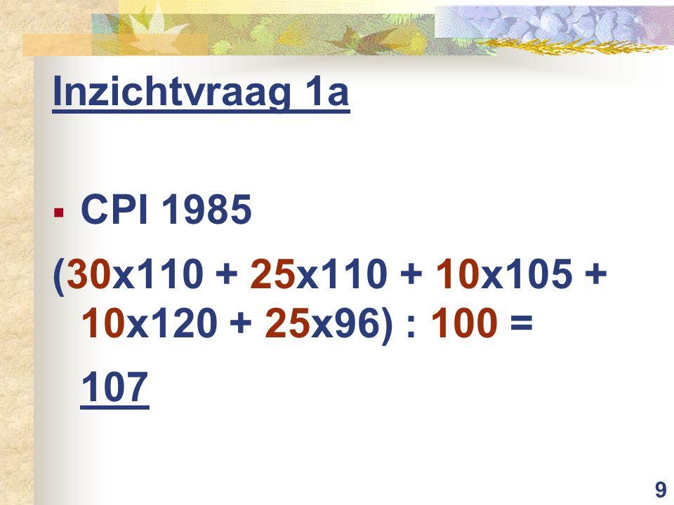9 Inzichtvraag 1a  CPI 1985 (30x110 + 25x110 + 10x105 + 10x120 + 25x96) : 100 = 107
