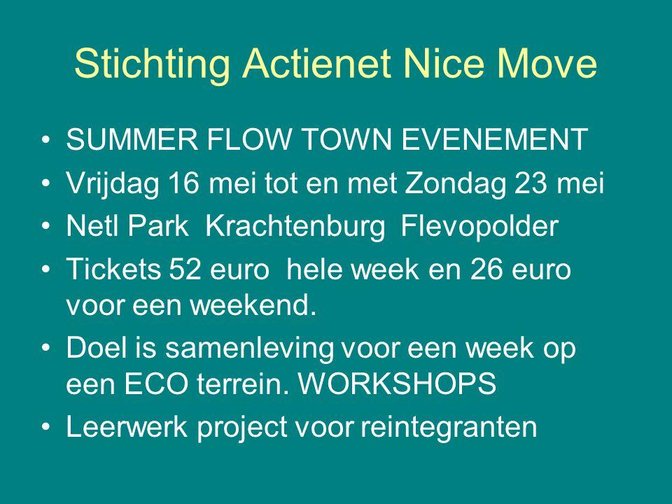 Stichting Actienet Nice Move SUMMER FLOW TOWN EVENEMENT Vrijdag 16 mei tot en met Zondag 23 mei Netl Park Krachtenburg Flevopolder Tickets 52 euro hel