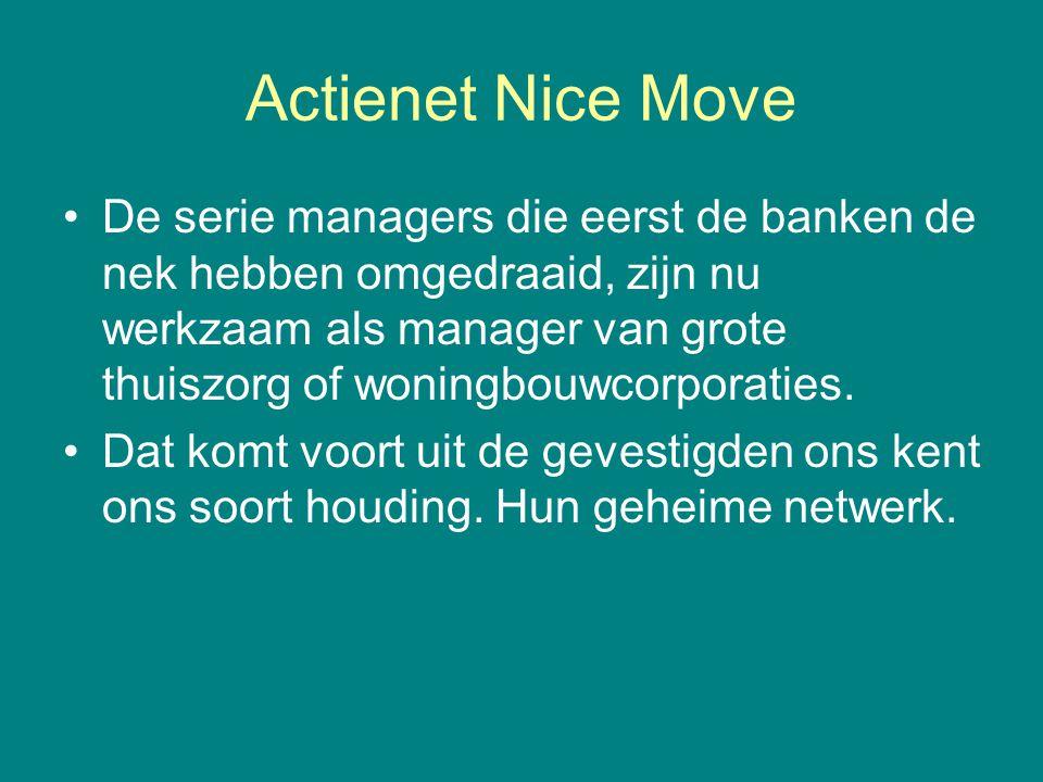 Actienet Nice Move De serie managers die eerst de banken de nek hebben omgedraaid, zijn nu werkzaam als manager van grote thuiszorg of woningbouwcorpo