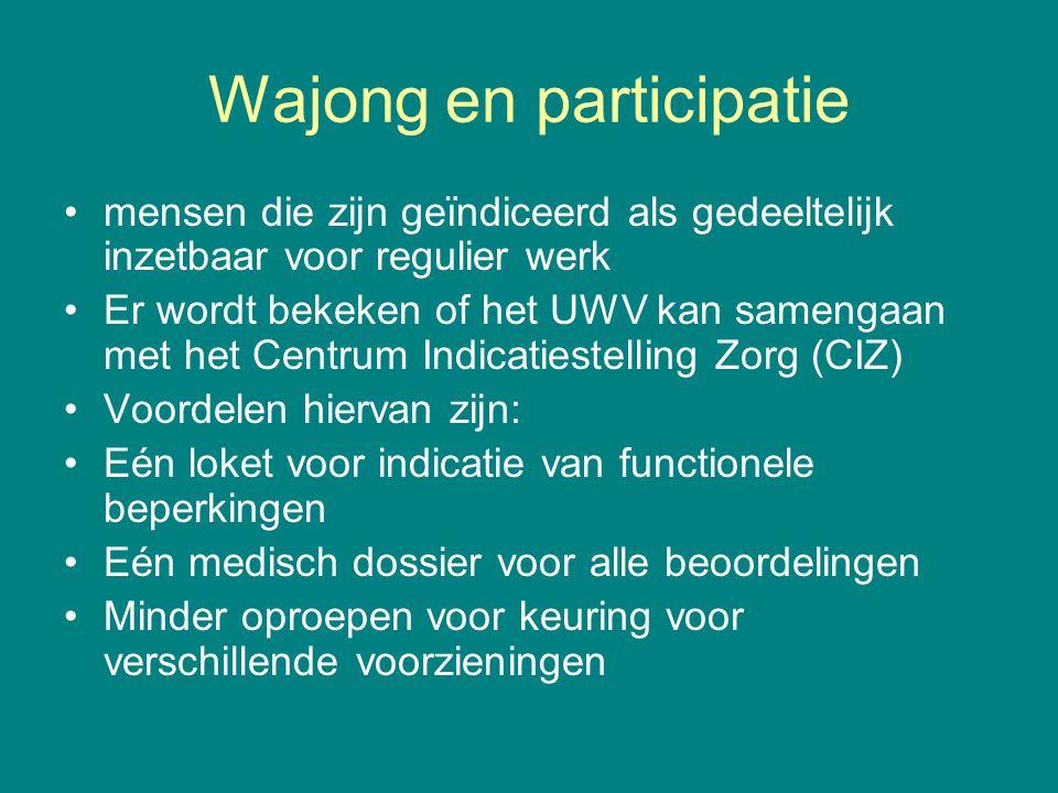 Wajong en participatie mensen die zijn geïndiceerd als gedeeltelijk inzetbaar voor regulier werk Er wordt bekeken of het UWV kan samengaan met het Cen