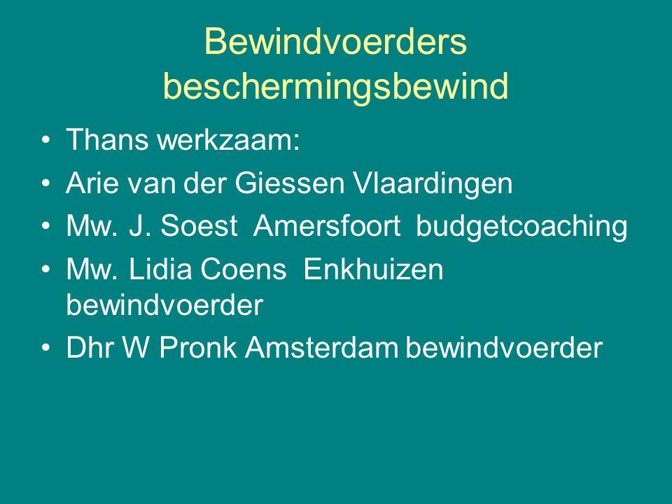Bewindvoerders beschermingsbewind Thans werkzaam: Arie van der Giessen Vlaardingen Mw. J. Soest Amersfoort budgetcoaching Mw. Lidia Coens Enkhuizen be