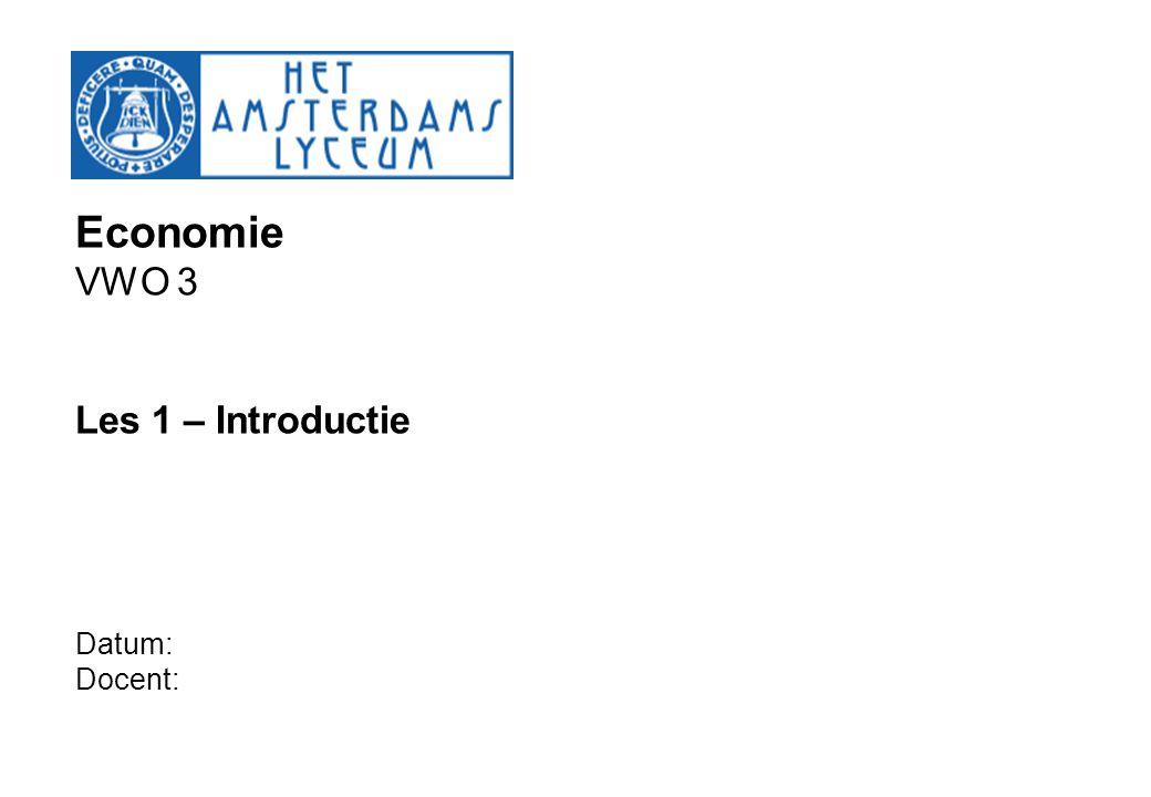 Economie VWO 3 Les 1 – Introductie Datum: Docent: