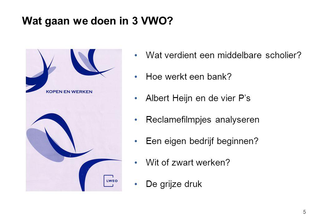 Wat gaan we doen in 3 VWO? 5 Wat verdient een middelbare scholier? Hoe werkt een bank? Albert Heijn en de vier P's Reclamefilmpjes analyseren Een eige