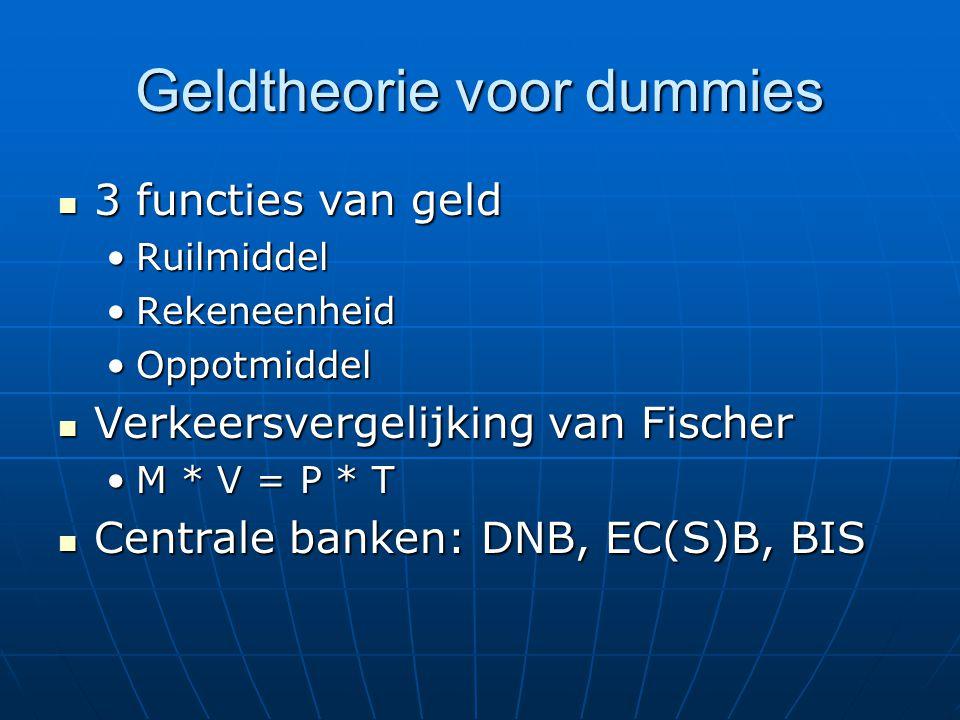 Geldtheorie voor dummies 3 functies van geld 3 functies van geld RuilmiddelRuilmiddel RekeneenheidRekeneenheid OppotmiddelOppotmiddel Verkeersvergelijking van Fischer Verkeersvergelijking van Fischer M * V = P * TM * V = P * T Centrale banken: DNB, EC(S)B, BIS Centrale banken: DNB, EC(S)B, BIS