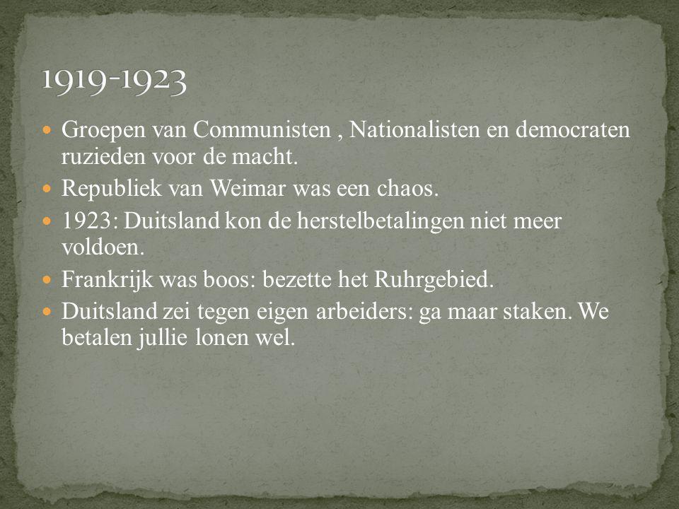 Vredesverdrag: Vrede van Versailles. Duitsland kreeg alle schuld van WO I. Door deze vrede moesten ze: Oorlogsschade betalen: herstelbetalingen. Land