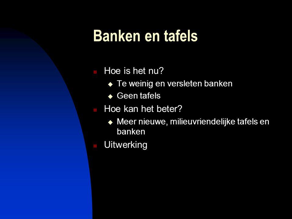 Banken en tafels Hoe is het nu?  Te weinig en versleten banken  Geen tafels Hoe kan het beter?  Meer nieuwe, milieuvriendelijke tafels en banken Ui