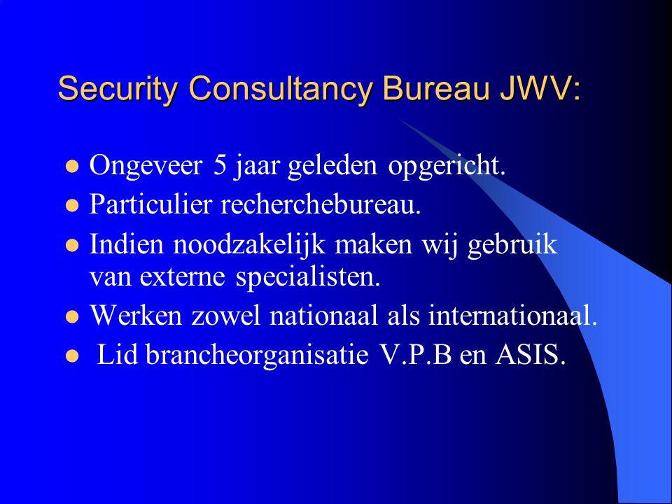 Security Consultancy Bureau JWV: Ongeveer 5 jaar geleden opgericht.