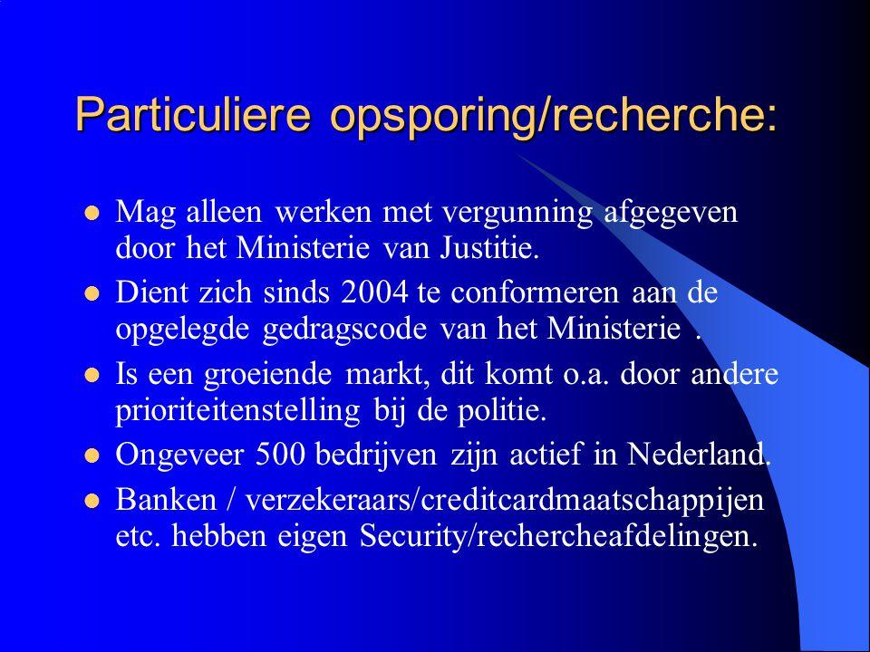 Particuliere opsporing/recherche: Mag alleen werken met vergunning afgegeven door het Ministerie van Justitie.