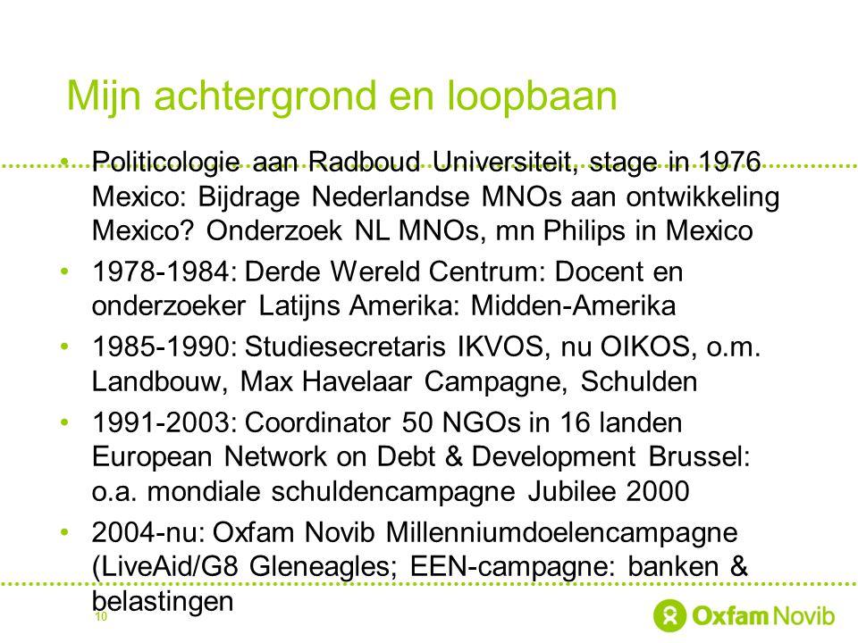 Mijn achtergrond en loopbaan Politicologie aan Radboud Universiteit, stage in 1976 Mexico: Bijdrage Nederlandse MNOs aan ontwikkeling Mexico? Onderzoe