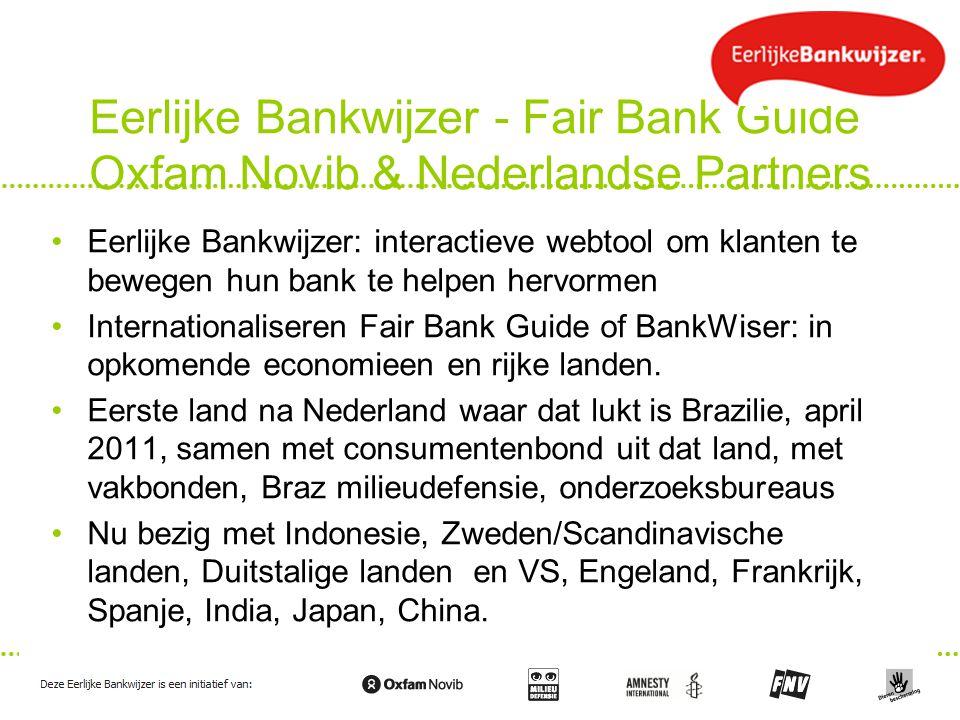 Eerlijke Bankwijzer - Fair Bank Guide Oxfam Novib & Nederlandse Partners Eerlijke Bankwijzer: interactieve webtool om klanten te bewegen hun bank te h