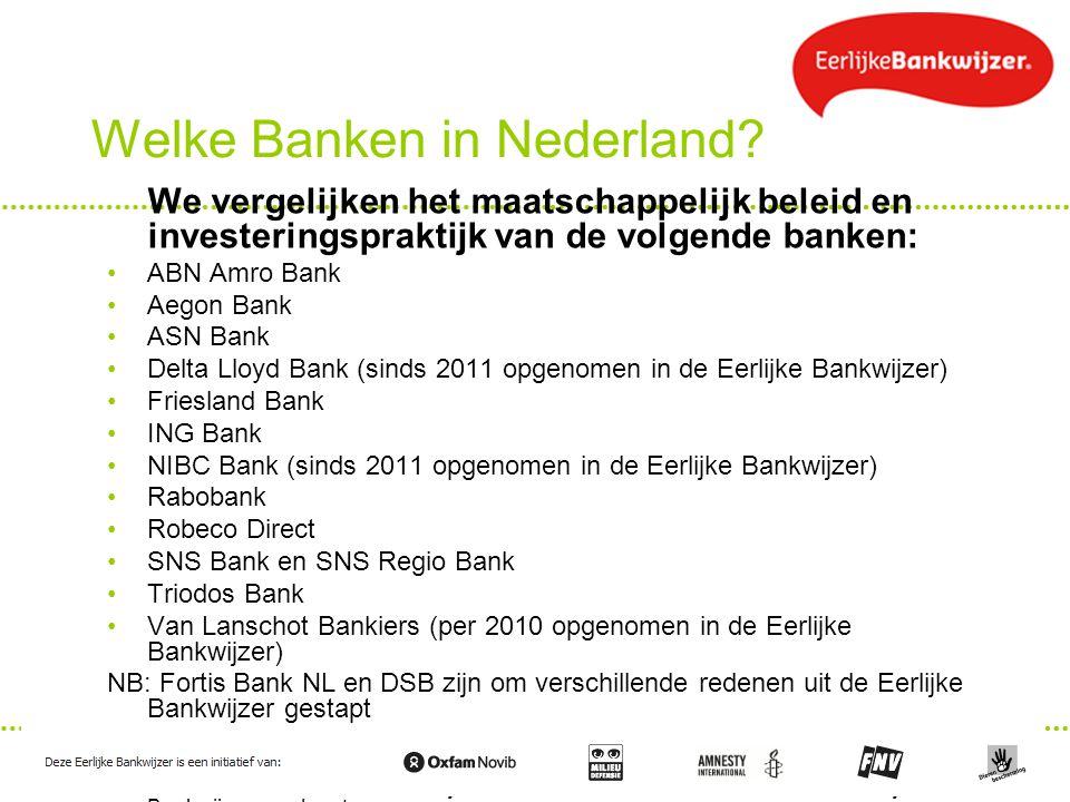 Welke Banken in Nederland? We vergelijken het maatschappelijk beleid en investeringspraktijk van de volgende banken: ABN Amro Bank Aegon Bank ASN Bank
