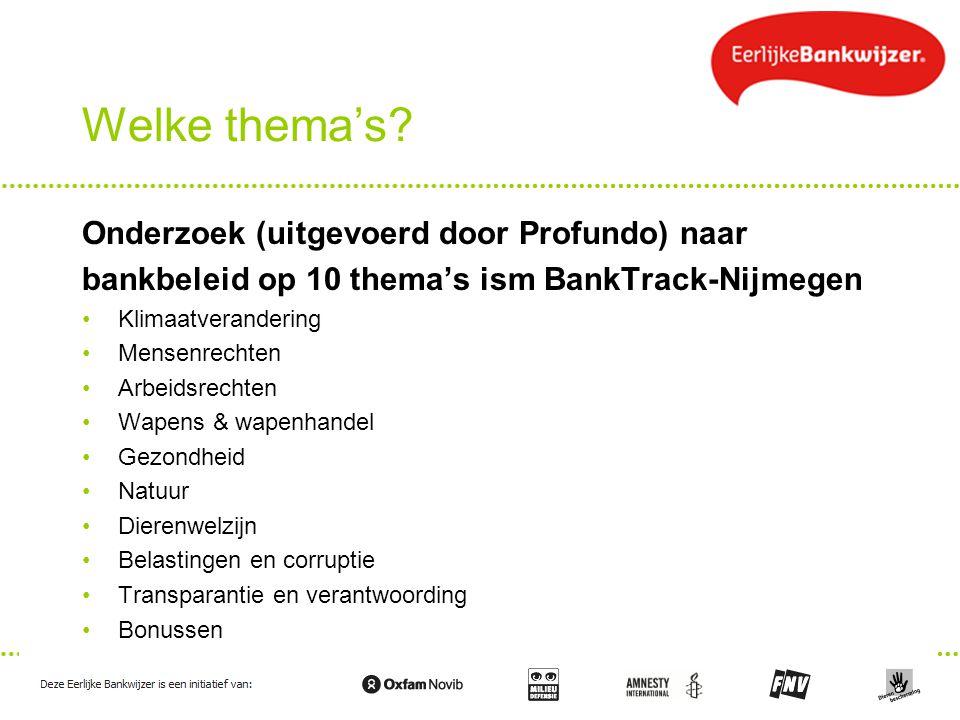 Welke thema's? Onderzoek (uitgevoerd door Profundo) naar bankbeleid op 10 thema's ism BankTrack-Nijmegen Klimaatverandering Mensenrechten Arbeidsrecht
