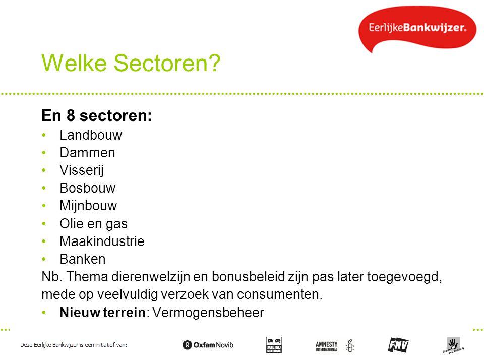 Welke Sectoren? En 8 sectoren: Landbouw Dammen Visserij Bosbouw Mijnbouw Olie en gas Maakindustrie Banken Nb. Thema dierenwelzijn en bonusbeleid zijn
