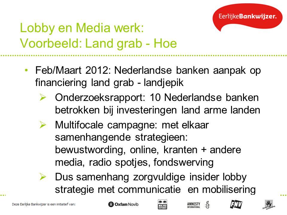 Lobby en Media werk: Voorbeeld: Land grab - Hoe Feb/Maart 2012: Nederlandse banken aanpak op financiering land grab - landjepik  Onderzoeksrapport: 1