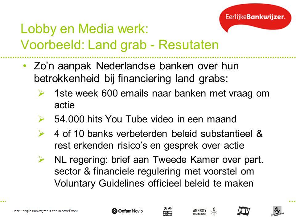 Lobby en Media werk: Voorbeeld: Land grab - Resutaten Zo'n aanpak Nederlandse banken over hun betrokkenheid bij financiering land grabs:  1ste week 6