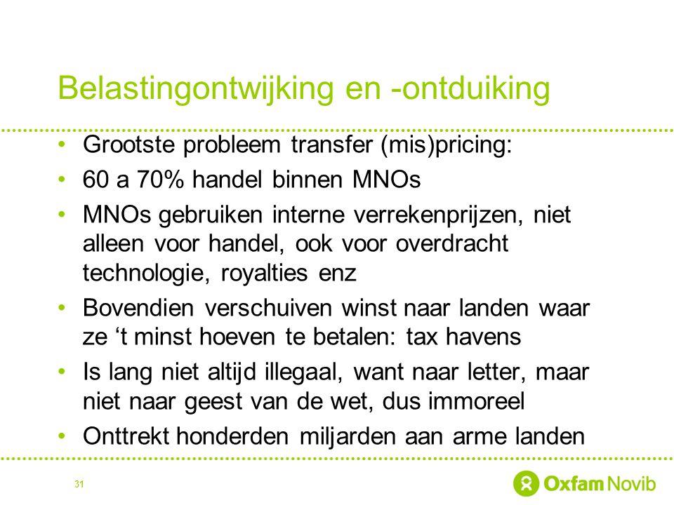 Belastingontwijking en -ontduiking Grootste probleem transfer (mis)pricing: 60 a 70% handel binnen MNOs MNOs gebruiken interne verrekenprijzen, niet a