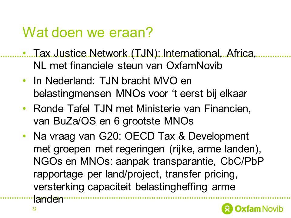 Wat doen we eraan? Tax Justice Network (TJN): International, Africa, NL met financiele steun van OxfamNovib In Nederland: TJN bracht MVO en belastingm