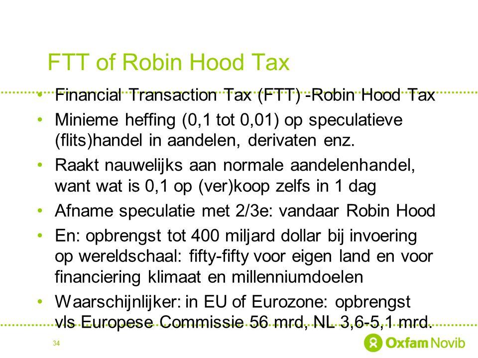 FTT of Robin Hood Tax Financial Transaction Tax (FTT) -Robin Hood Tax Minieme heffing (0,1 tot 0,01) op speculatieve (flits)handel in aandelen, deriva