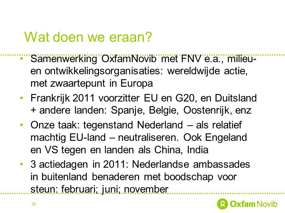 Wat doen we eraan? Samenwerking OxfamNovib met FNV e.a., milieu- en ontwikkelingsorganisaties: wereldwijde actie, met zwaartepunt in Europa Frankrijk