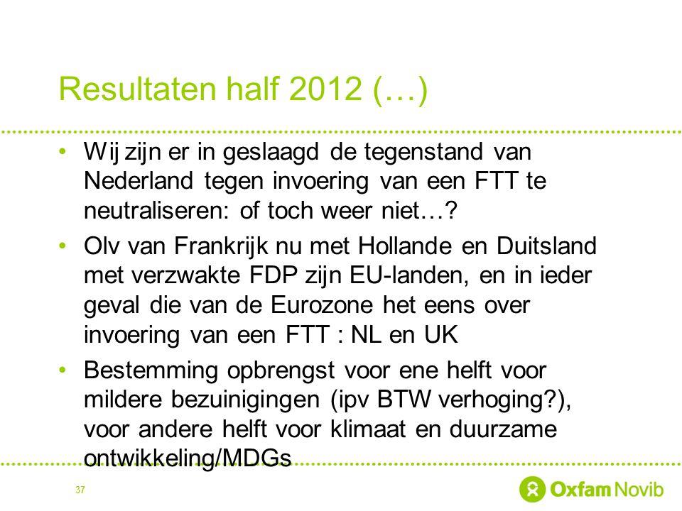 Resultaten half 2012 (…) Wij zijn er in geslaagd de tegenstand van Nederland tegen invoering van een FTT te neutraliseren: of toch weer niet…? Olv van