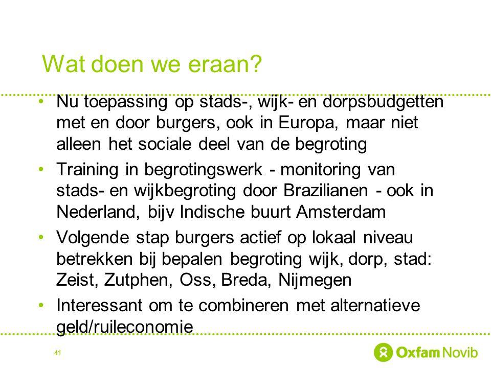 Wat doen we eraan? Nu toepassing op stads-, wijk- en dorpsbudgetten met en door burgers, ook in Europa, maar niet alleen het sociale deel van de begro
