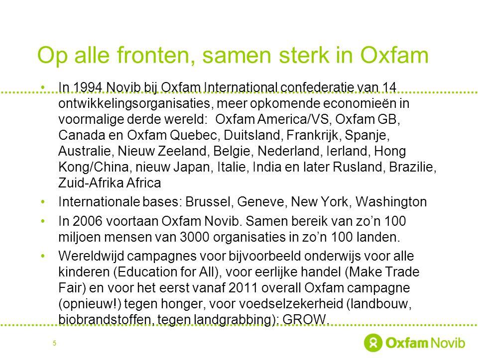 Op alle fronten, samen sterk in Oxfam In 1994 Novib bij Oxfam International confederatie van 14 ontwikkelingsorganisaties, meer opkomende economieën i