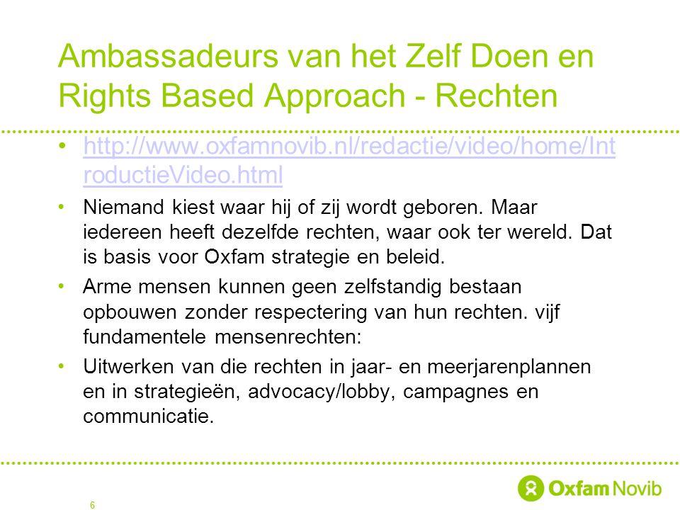 Ambassadeurs van het Zelf Doen en Rights Based Approach - Rechten http://www.oxfamnovib.nl/redactie/video/home/Int roductieVideo.htmlhttp://www.oxfamn