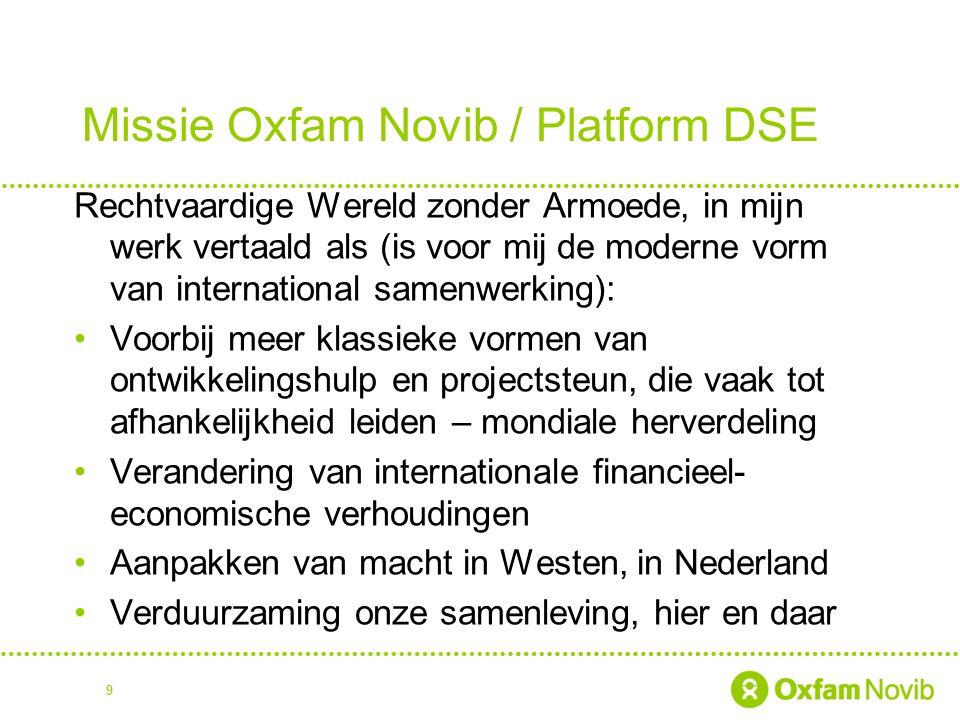 Missie Oxfam Novib / Platform DSE Rechtvaardige Wereld zonder Armoede, in mijn werk vertaald als (is voor mij de moderne vorm van international samenw