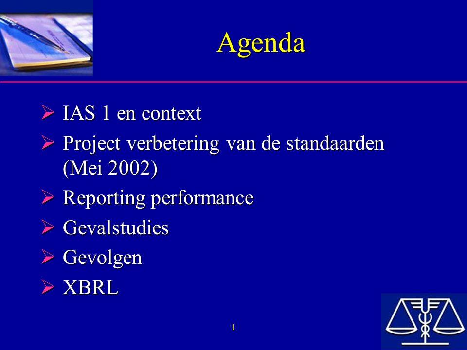 12 IAS 1 : analyse  Bij ontbreken van IAS of SIC: –Zich baseren op de definities en de beschikbare criteria in het framework –Identificeren van gelijkaardige IAS en SIC –Evalueren van de uitgangspunten van andere standaard-setters en bekijken van de in praktijk geldende 'regel' in de sector