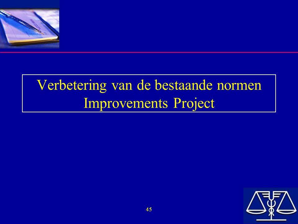 45 Verbetering van de bestaande normen Improvements Project