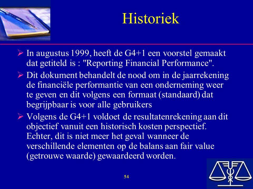 54 Historiek  In augustus 1999, heeft de G4+1 een voorstel gemaakt dat getiteld is : Reporting Financial Performance .