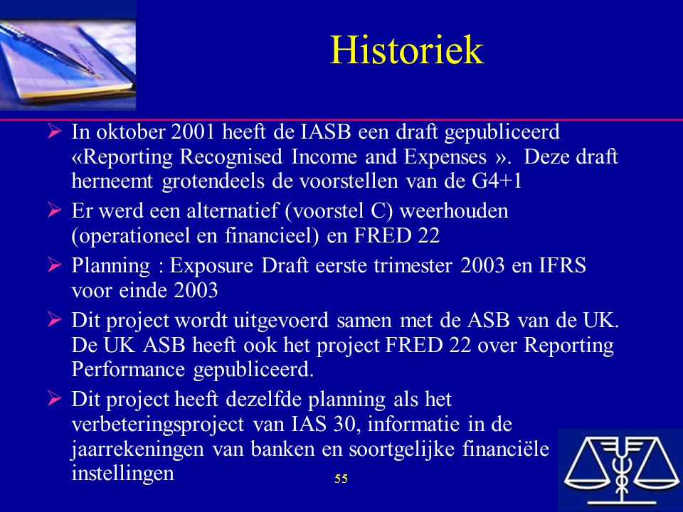 55 Historiek  In oktober 2001 heeft de IASB een draft gepubliceerd «Reporting Recognised Income and Expenses ».