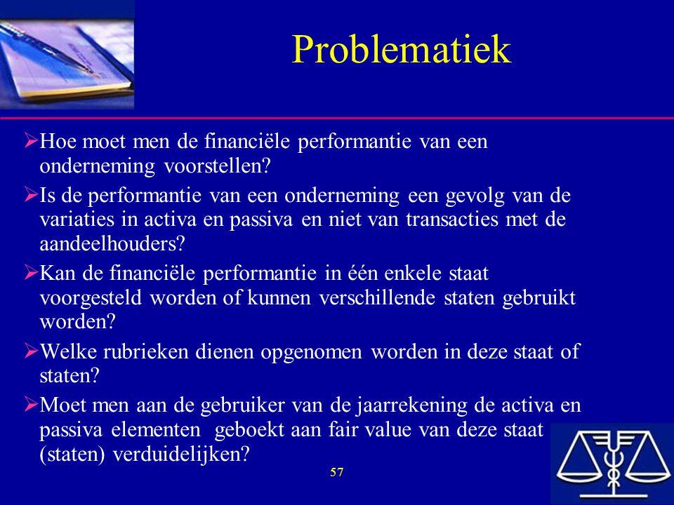 57 Problematiek  Hoe moet men de financiële performantie van een onderneming voorstellen.
