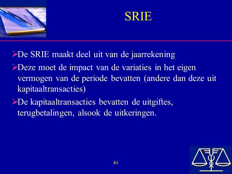 61 SRIE  De SRIE maakt deel uit van de jaarrekening  Deze moet de impact van de variaties in het eigen vermogen van de periode bevatten (andere dan deze uit kapitaaltransacties)  De kapitaaltransacties bevatten de uitgiftes, terugbetalingen, alsook de uitkeringen.
