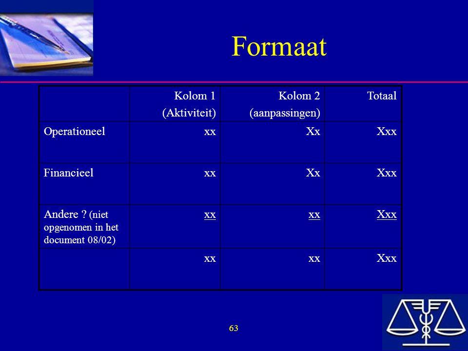 63 Formaat Kolom 1 (Aktiviteit) Kolom 2 (aanpassingen) Totaal OperationeelxxXxXxx FinancieelxxXxXxx Andere .