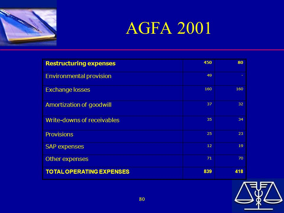 80 AGFA 2001 Restructuring expenses 45080 Environmental provision 49- Exchange losses 160 Amortization of goodwill 3732 Write-downs of receivables 353
