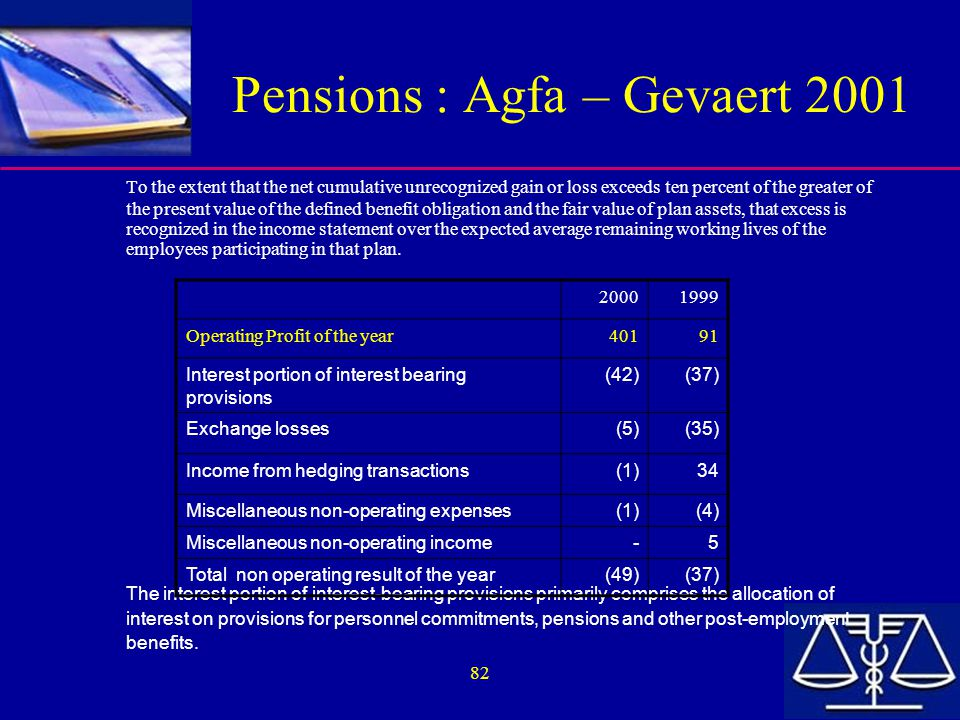 82 Pensions : Agfa – Gevaert 2001 To the extent that the net cumulative unrecognized gain or loss exceeds ten percent of the greater of the present va