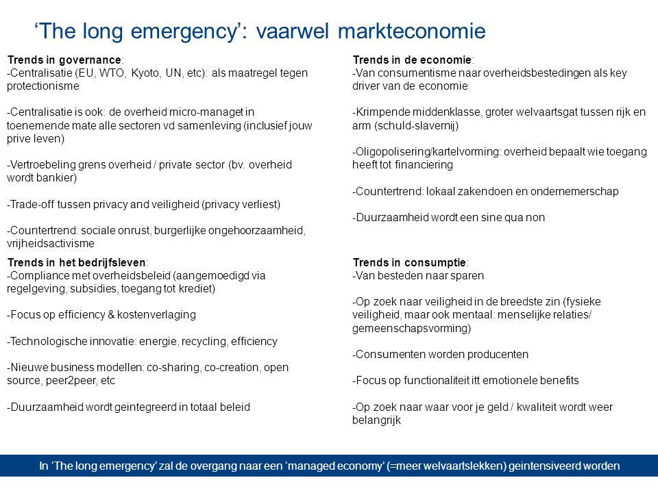 'The long emergency': vaarwel markteconomie In 'The long emergency' zal de overgang naar een 'managed economy' (=meer welvaartslekken) geintensiveerd worden Trends in governance: -Centralisatie (EU, WTO, Kyoto, UN, etc): als maatregel tegen protectionisme -Centralisatie is ook: de overheid micro-managet in toenemende mate alle sectoren vd samenleving (inclusief jouw prive leven) -Vertroebeling grens overheid / private sector (bv.