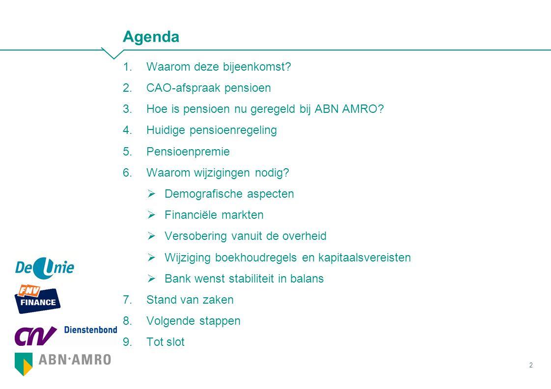 Agenda 1.Waarom deze bijeenkomst? 2.CAO-afspraak pensioen 3.Hoe is pensioen nu geregeld bij ABN AMRO? 4.Huidige pensioenregeling 5.Pensioenpremie 6.Wa