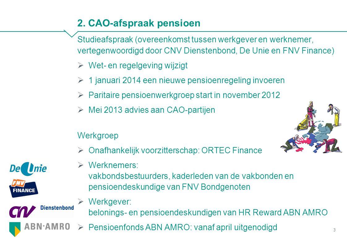 2. CAO-afspraak pensioen Studieafspraak (overeenkomst tussen werkgever en werknemer, vertegenwoordigd door CNV Dienstenbond, De Unie en FNV Finance) 