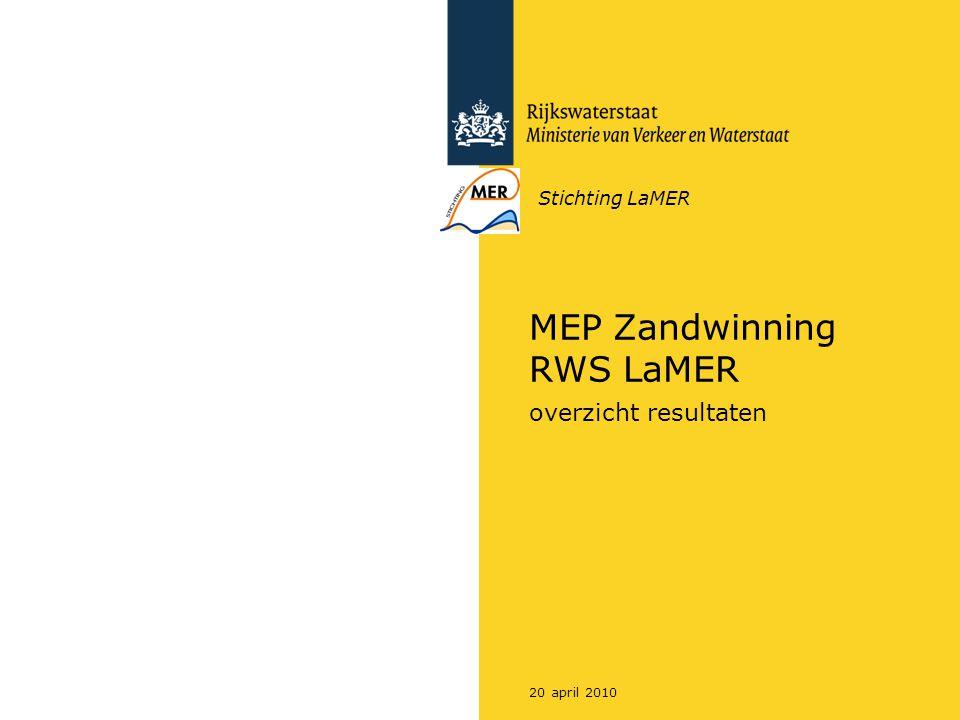 Rijkswaterstaat MEP Zandwinning RWS LaMER220 april 2010 Inleiding Aanleiding –Besluit voor noodzaak locatie specifieke afweging door middel van m.e.r.