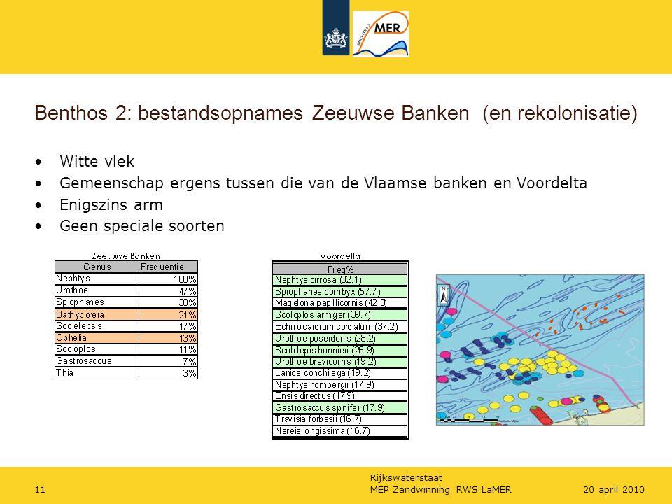 Rijkswaterstaat MEP Zandwinning RWS LaMER1120 april 2010 Benthos 2: bestandsopnames Zeeuwse Banken (en rekolonisatie) Witte vlek Gemeenschap ergens tussen die van de Vlaamse banken en Voordelta Enigszins arm Geen speciale soorten