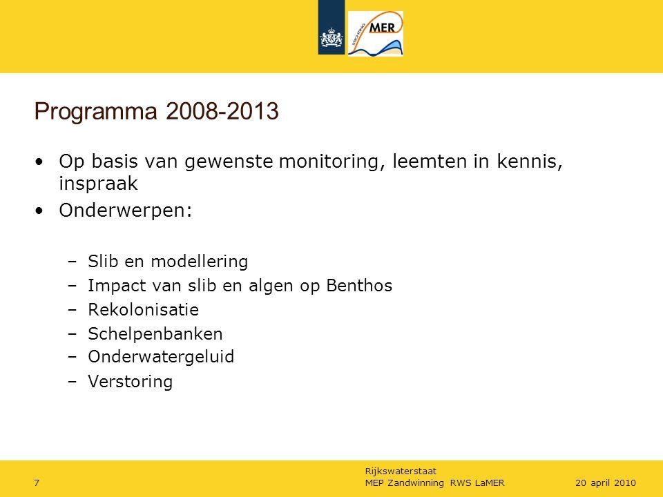 Rijkswaterstaat MEP Zandwinning RWS LaMER820 april 2010 Slibonderzoek Pluim: –weinig oppervlakte –snel weg Bodem t ½ –Medusa metingen –Lage concentraties –Proxy?