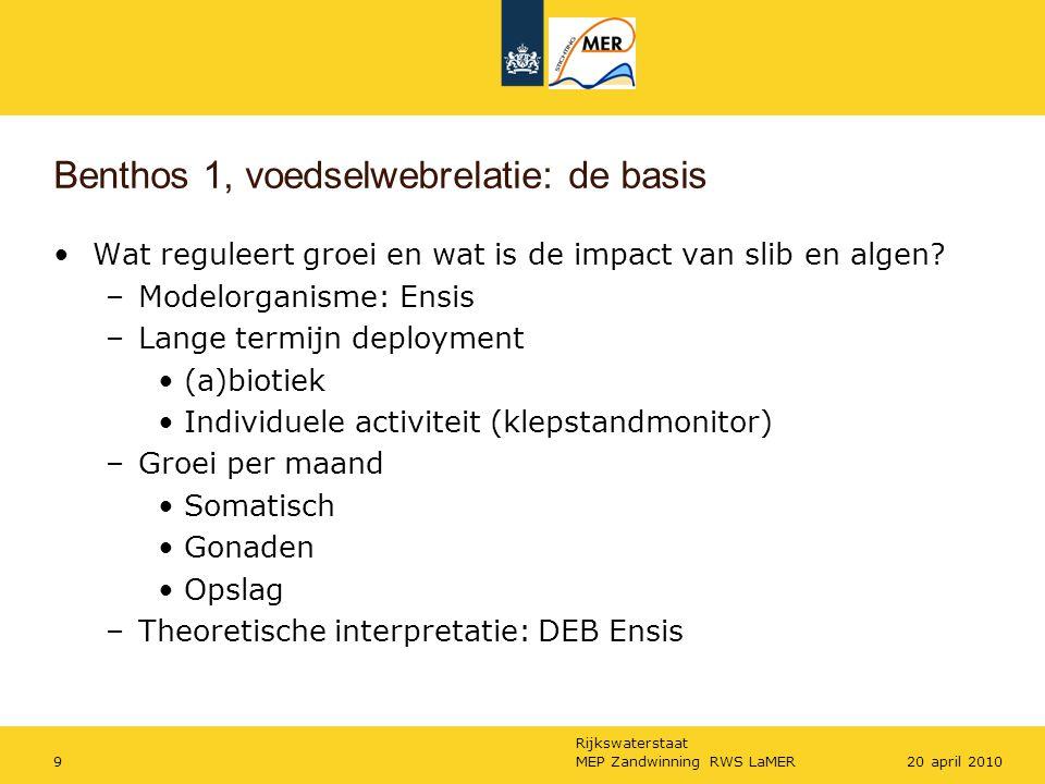 Rijkswaterstaat MEP Zandwinning RWS LaMER920 april 2010 Benthos 1, voedselwebrelatie: de basis Wat reguleert groei en wat is de impact van slib en algen.