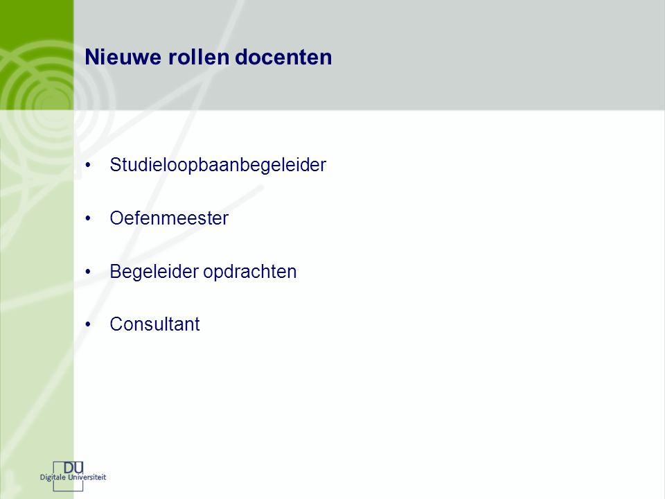 Nieuwe rollen docenten Studieloopbaanbegeleider Oefenmeester Begeleider opdrachten Consultant