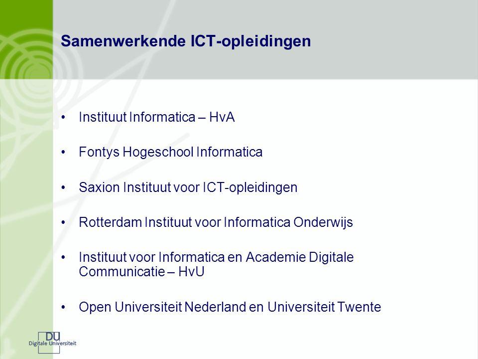 Samenwerkende ICT-opleidingen Instituut Informatica – HvA Fontys Hogeschool Informatica Saxion Instituut voor ICT-opleidingen Rotterdam Instituut voor