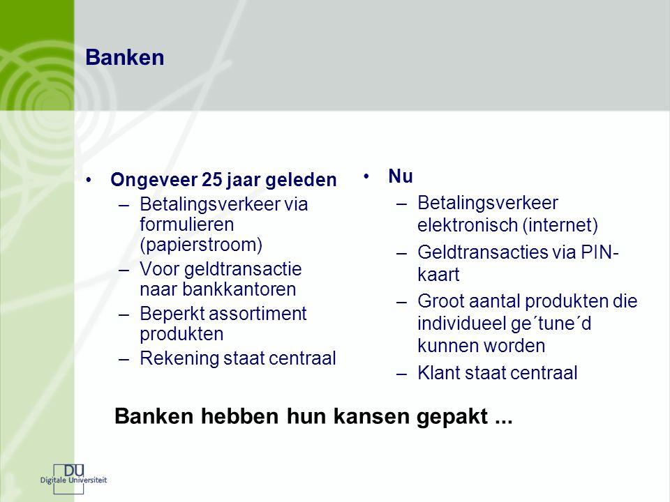 Banken Ongeveer 25 jaar geleden –Betalingsverkeer via formulieren (papierstroom) –Voor geldtransactie naar bankkantoren –Beperkt assortiment produkten