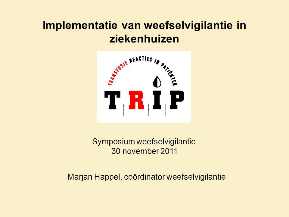 Implementatie van weefselvigilantie in ziekenhuizen Marjan Happel, coördinator weefselvigilantie Symposium weefselvigilantie 30 november 2011