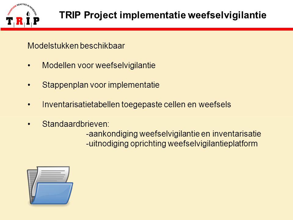 TRIP Project implementatie weefselvigilantie Modelstukken beschikbaar Modellen voor weefselvigilantie Stappenplan voor implementatie Inventarisatietabellen toegepaste cellen en weefsels Standaardbrieven: -aankondiging weefselvigilantie en inventarisatie -uitnodiging oprichting weefselvigilantieplatform