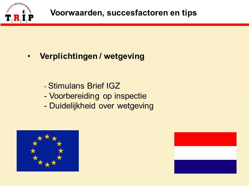 Voorwaarden, succesfactoren en tips Verplichtingen / wetgeving - Stimulans Brief IGZ - Voorbereiding op inspectie - Duidelijkheid over wetgeving